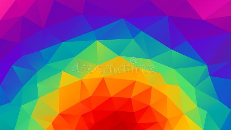 Dirigez le fond polygonal irrégulier - bas poly modèle de triangle - arc-en-ciel rond de spectre polychrome au néon - rose, magen illustration libre de droits