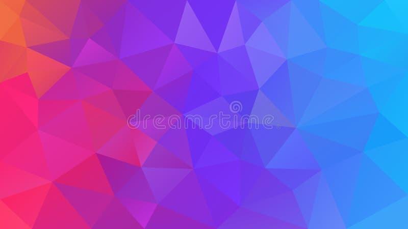 Dirigez le fond polygonal irrégulier - bas poly modèle de triangle - gradient polychrome d'arc-en-ciel olographe au néon - orange illustration stock