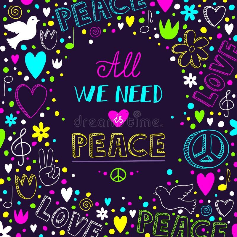Dirigez le fond pourpre foncé de thème d'amour et de paix illustration stock