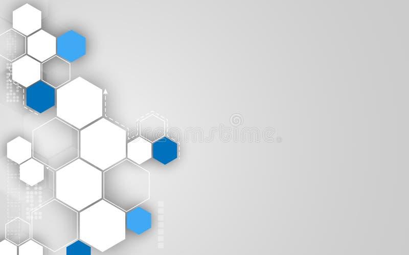 Dirigez le fond propre de conception d'hexagone de concept abstrait de technologie illustration de vecteur