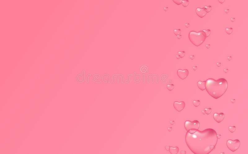 Dirigez le fond rose avec des bulles dans la forme des coeurs, Saint-Valentin, le jour des femmes illustration de vecteur