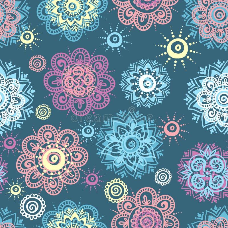 Dirigez le fond sans couture avec les éléments floraux abstraits dans le style indien illustration stock