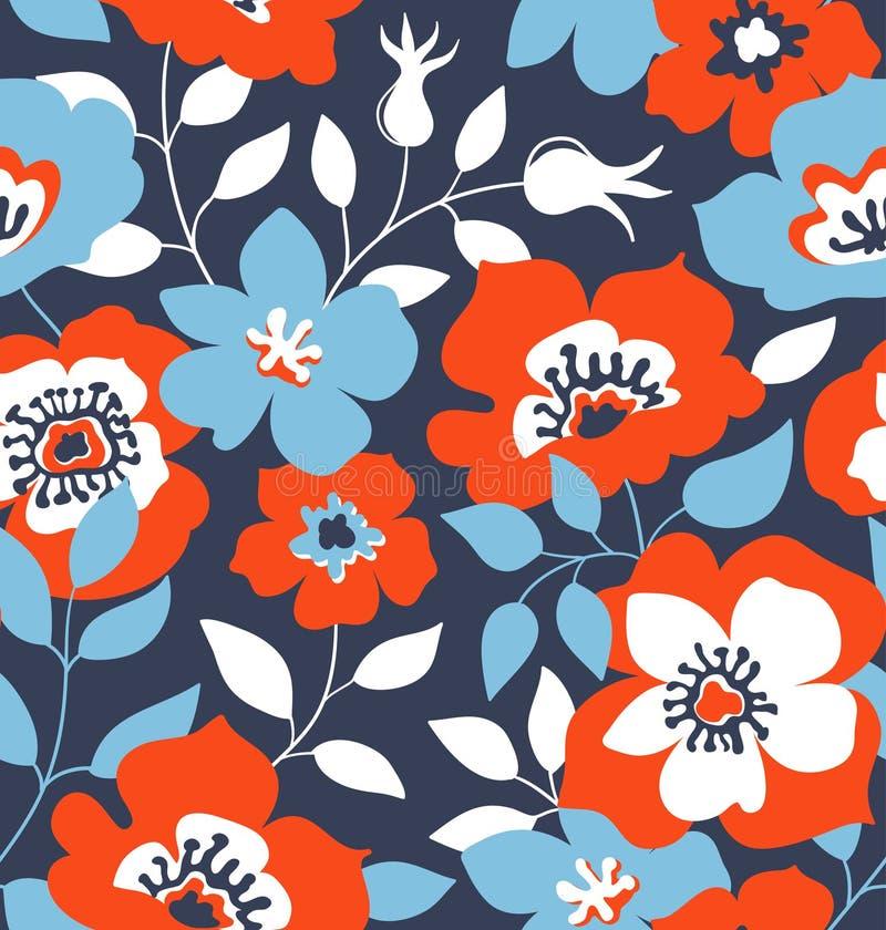 Dirigez le fond sans couture avec les roses sauvages, style de vintage Conception tirée par la main de tissu illustration stock
