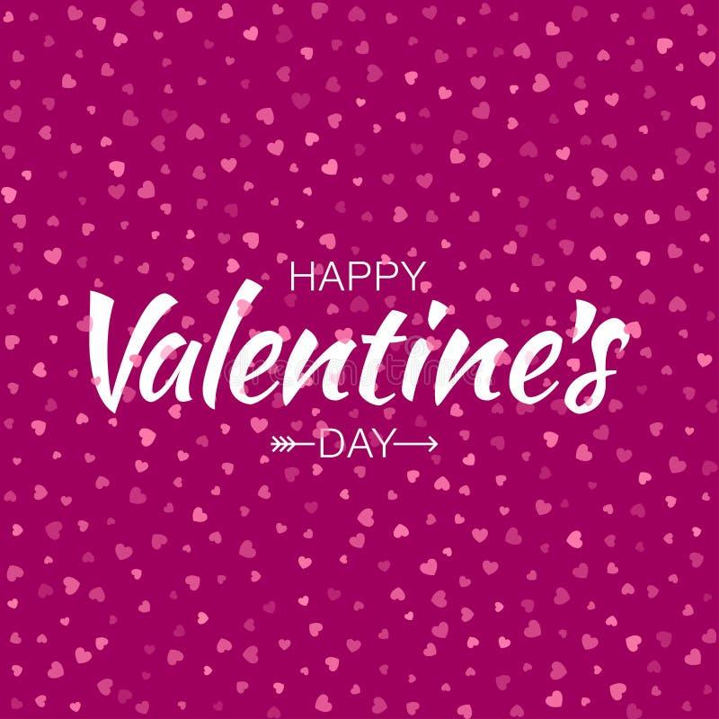 Dirigez le fond sans couture de coeurs de modèle de valentines de carte heureuse rose de jour illustration de vecteur