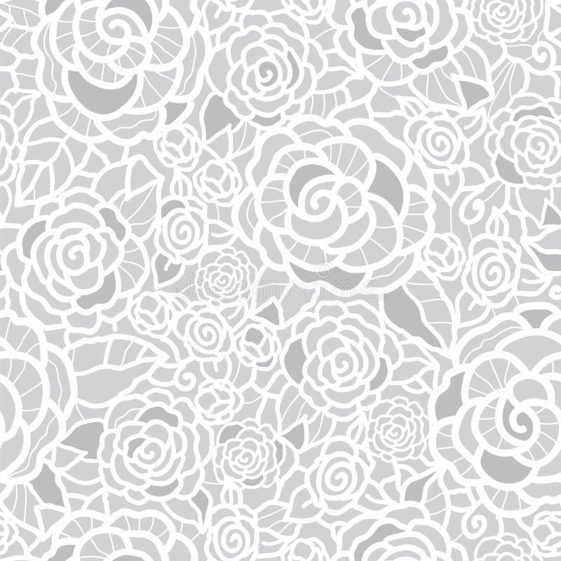 Dirigez le fond sans couture de modèle de répétition de gris argenté de roses douces de dentelle Grand pour épouser ou le décor n illustration libre de droits