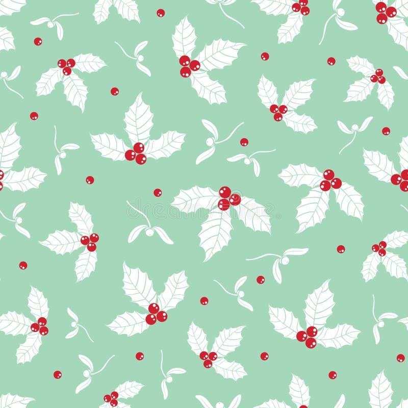 Dirigez le fond sans couture de modèle de houx de vacances vertes en bon état de baie Grand pour l'emballage orienté d'hiver, gif illustration libre de droits