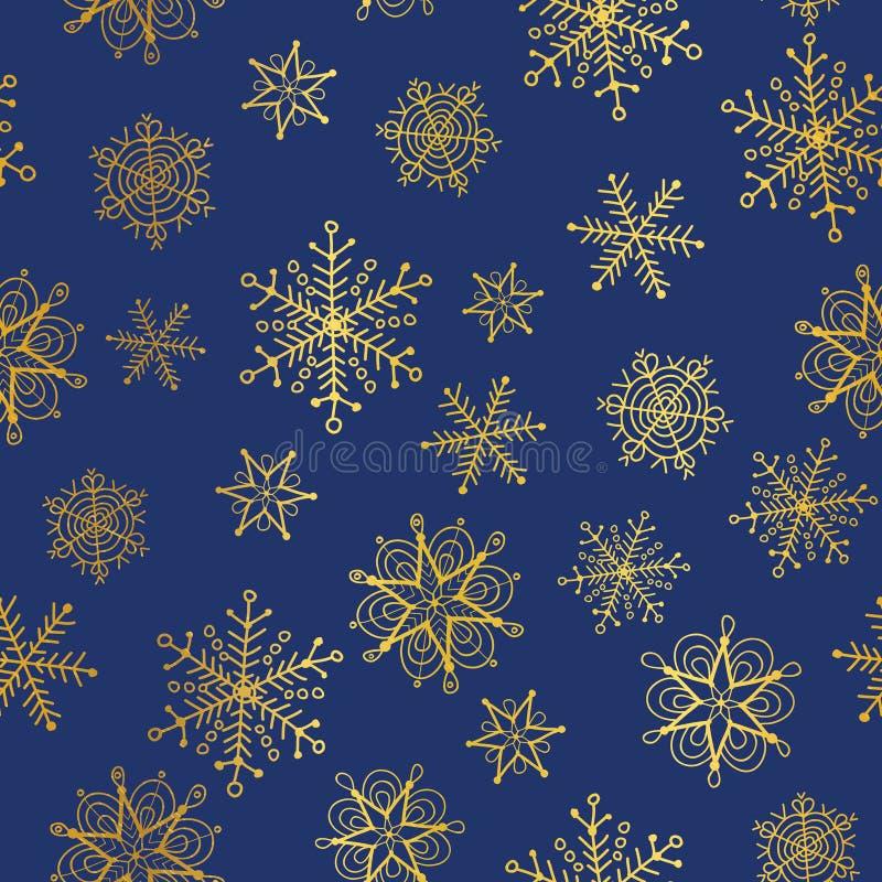 Dirigez le fond sans couture de modèle de répétition de flocons de neige d'or et voire bleus Grand pour le tissu de vacances d'hi illustration stock