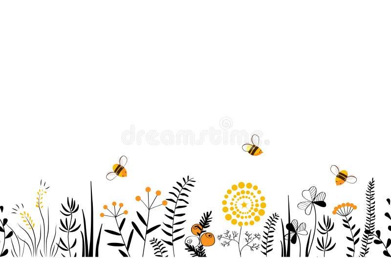 Dirigez le fond sans couture de nature avec les herbes, les fleurs et les feuilles sauvages tirées par la main sur le blanc Style illustration de vecteur