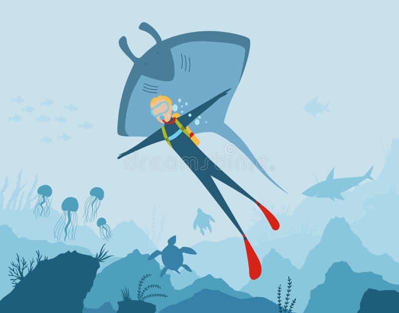 Dirigez le fond sous-marin de style de bande dessin?e avec la flore et la faune de mer R?cif coralien, usines de mer et silhouett illustration stock