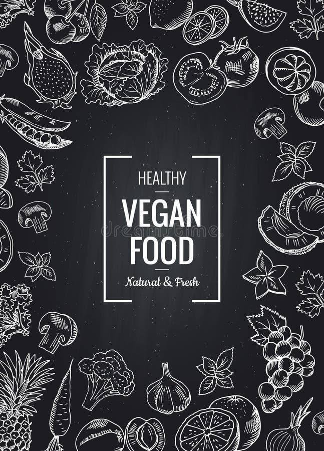Dirigez le fond vertical de tableau avec des légumes et des fruits et le placez pour le texte illustration stock