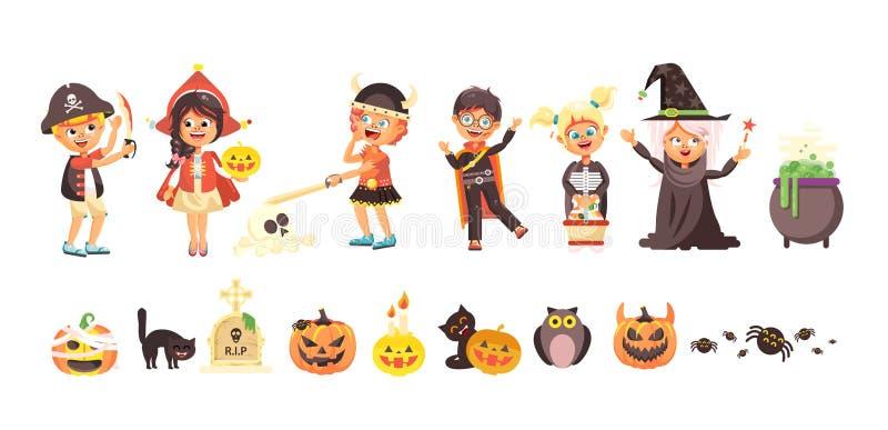 Dirigez le garçon de des bonbons ou un sort d'enfants de bande dessinée d'isolement par illustration, fille, fête de vacances de  illustration libre de droits