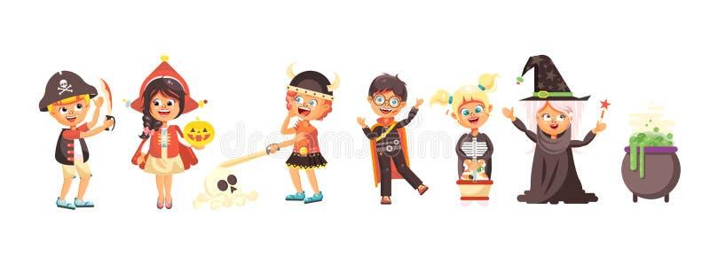 Dirigez le garçon de des bonbons ou un sort d'enfants de bande dessinée d'isolement par illustration, fille, fête de vacances de  illustration de vecteur