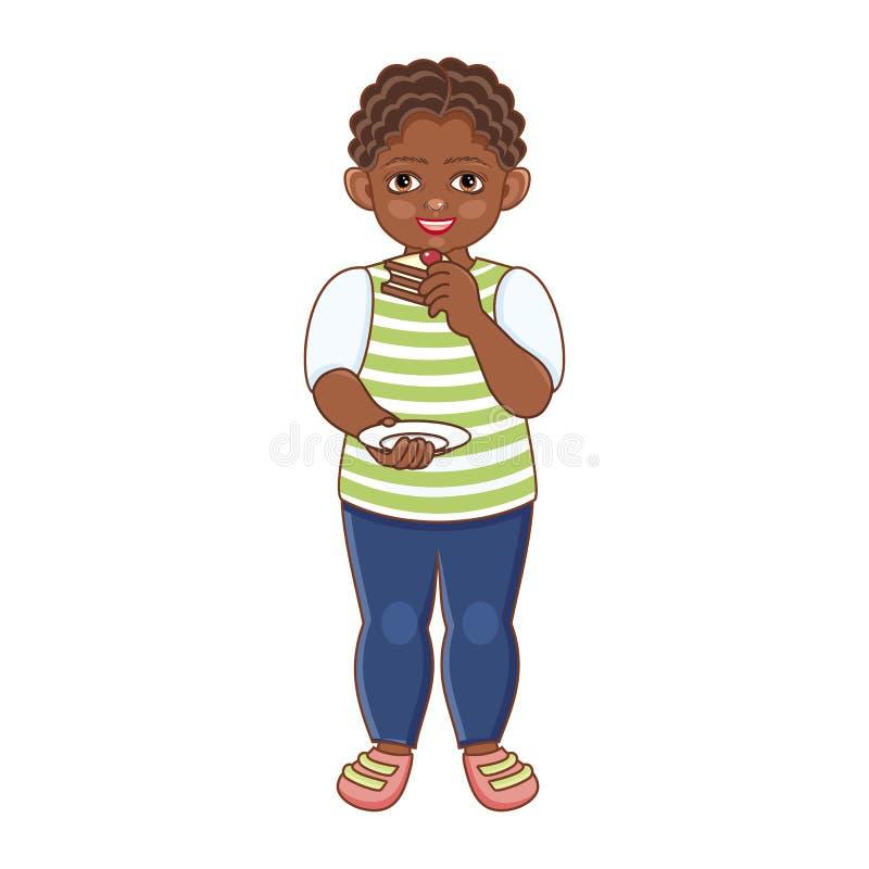 Dirigez le garçon noir africain plat mangeant le gâteau doux illustration stock
