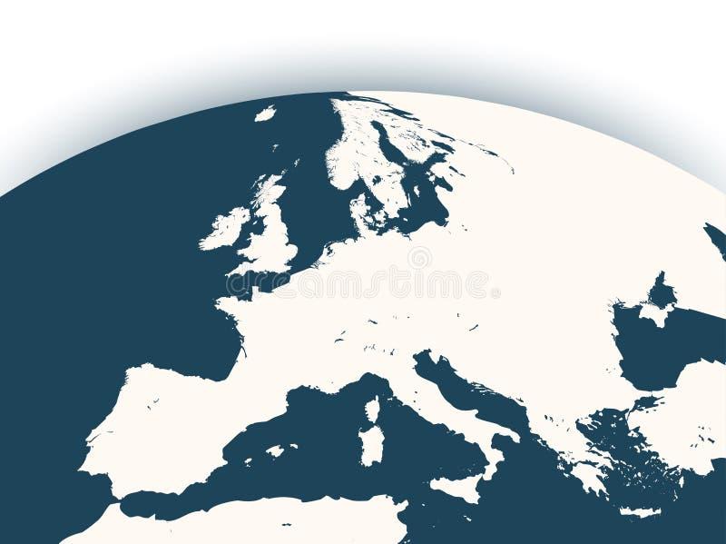 Dirigez le globe de la terre avec le bourdonnement du continent de l'Europe illustration de vecteur