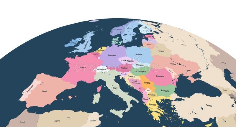 Dirigez le globe de la terre avec le bourdonnement du continent de l'Europe illustration stock