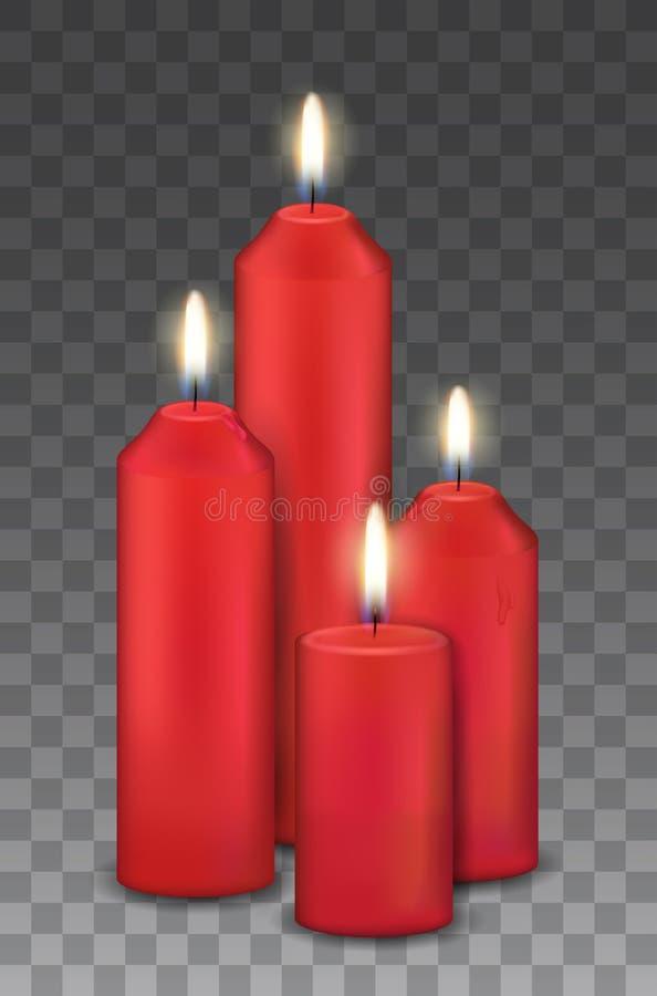 Dirigez le groupe réaliste de quatre bougies brûlantes rouges - avènement, décorations de Noël illustration libre de droits