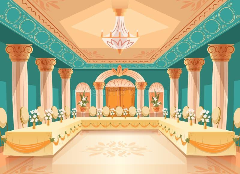 Dirigez le hall pour le banquet, intérieur de salle de bal illustration libre de droits