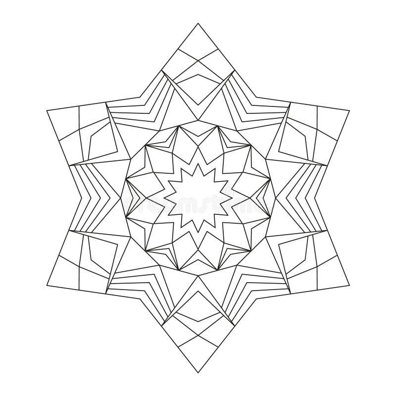 Dirigez le hexagram rond noir et blanc de mandala d'étoile - page adulte de livre de coloriage illustration libre de droits