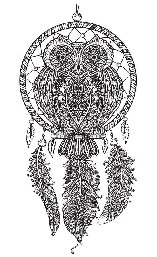 Dirigez le hibou fleuri détaillé tiré par la main avec le receveur rêveur illustration de vecteur