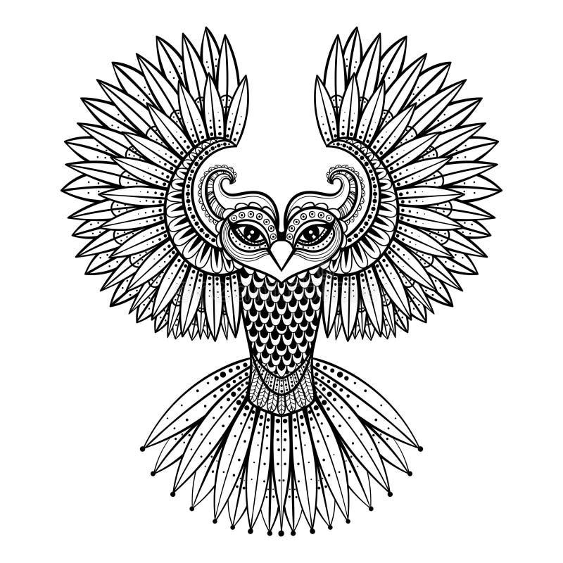 Dirigez le hibou ornemental, mascotte zentangled ethnique, amulette, masque illustration stock