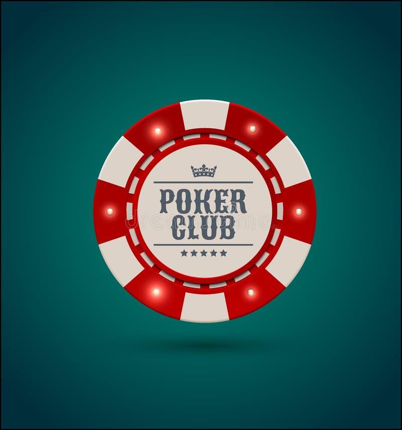 Dirigez le jeton de poker blanc rouge de casino avec les éléments légers lumineux Fond de vert bleu Texte de club de tisonnier, n illustration stock