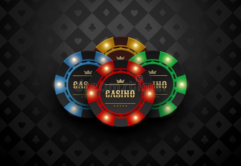 Dirigez le jeton de poker jaune vert-bleu rouge de casino avec les éléments légers lumineux La carte en soie noire adapte au fond illustration libre de droits