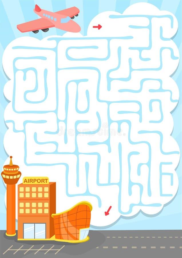 Dirigez le jeu de labyrinthe avec l'usine à l'aéroport illustration de vecteur