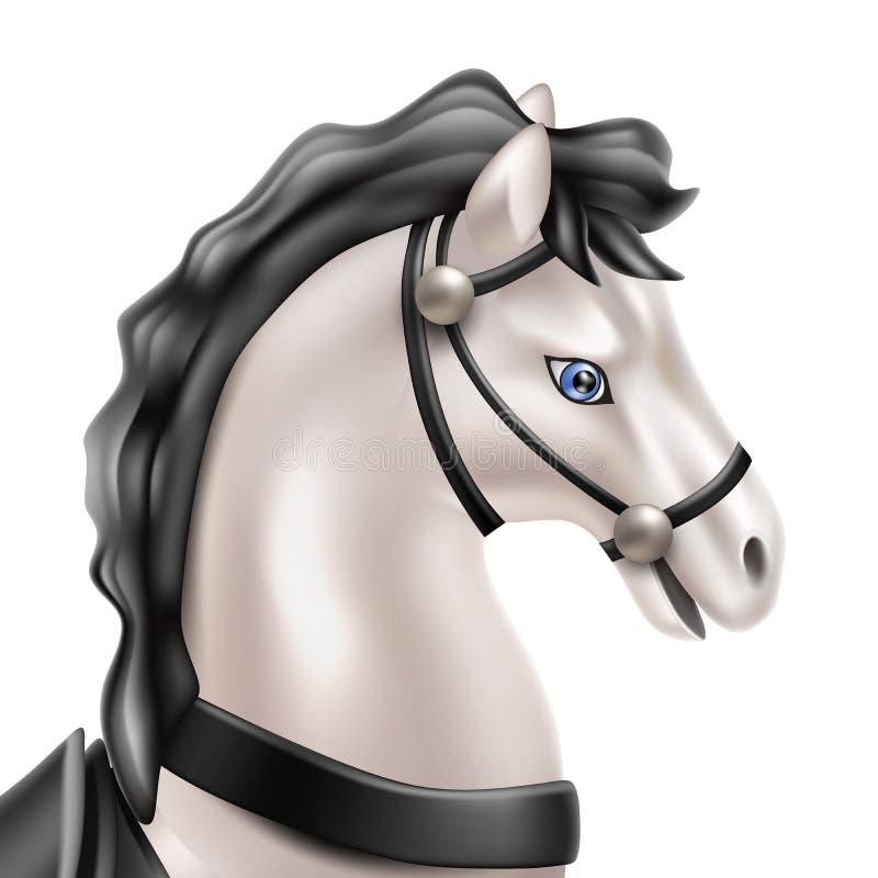Dirigez le jouet réaliste de cheval, poupée avec la selle noire illustration libre de droits