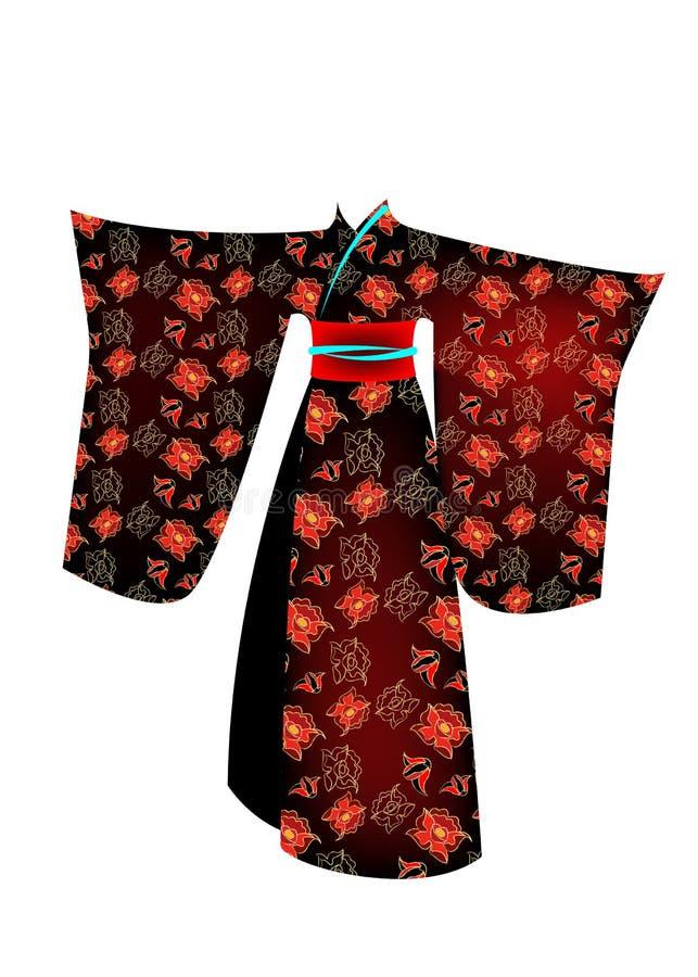 Dirigez le kimono traditionnel japonais de costume de geisha d'illustration avec le modèle des fleurs d'or Un caractère dans un s illustration stock