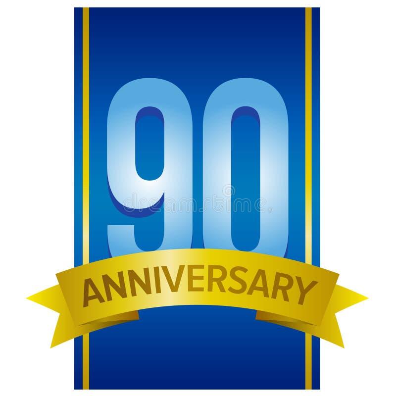 Dirigez le label pour le quatre-vingt-dixième anniversaire avec de grands chiffres sur le fond bleu illustration libre de droits