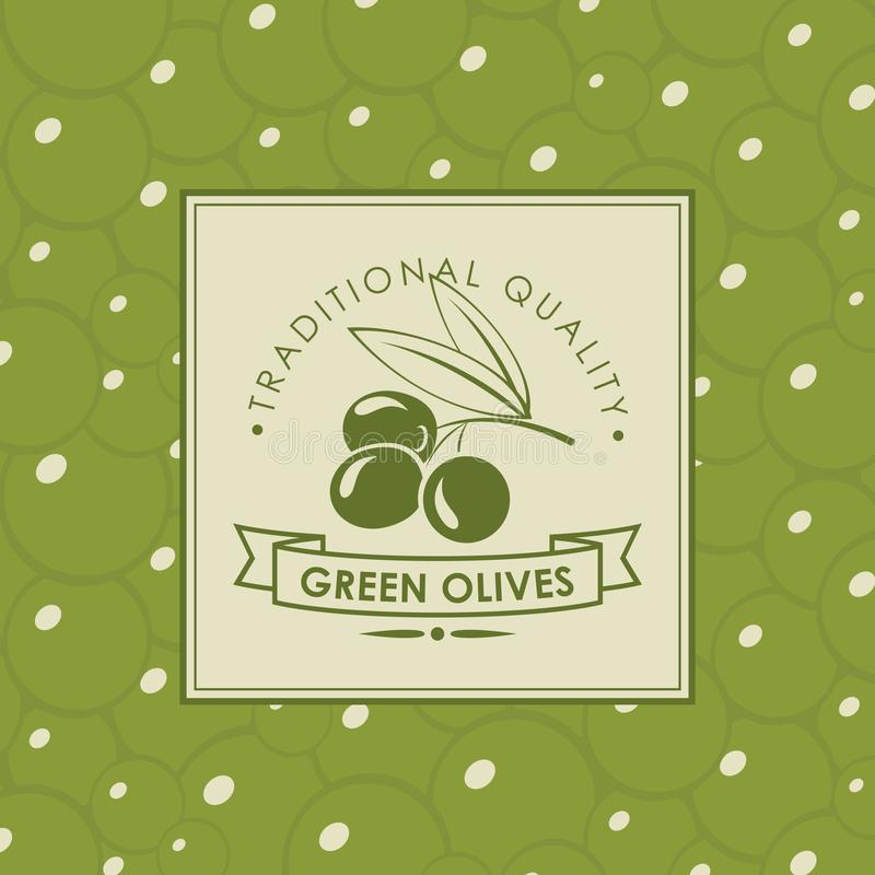 Dirigez le label pour les olives vertes avec la brindille olive illustration stock