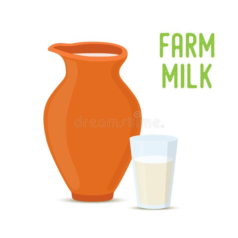 Dirigez le lait de ferme dans le pot de poterie d'argile, tasse en verre illustration libre de droits