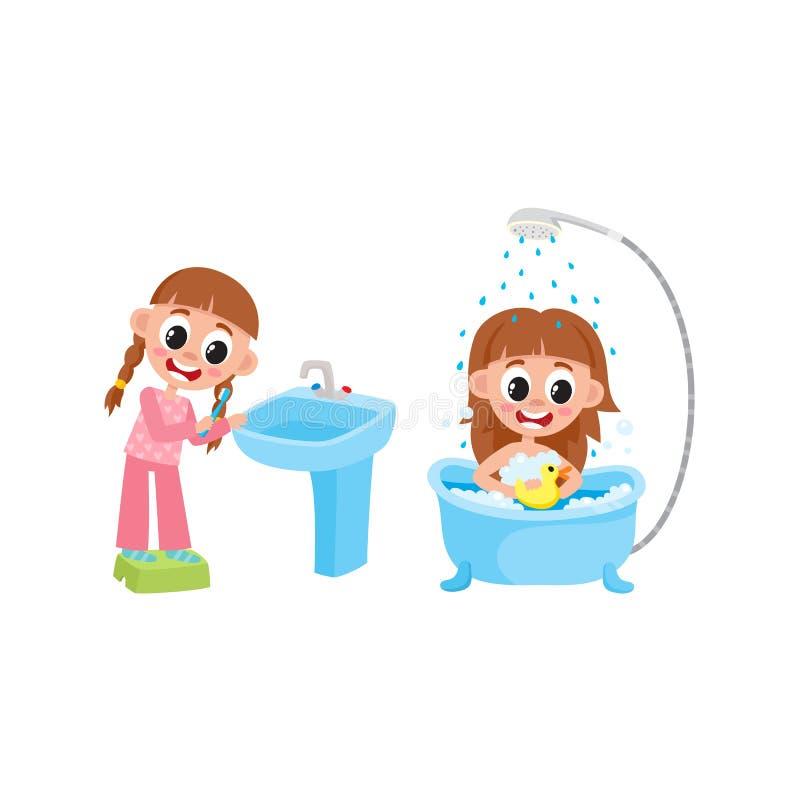 Dirigez le lavage plat de fille, brossant des dents réglées illustration de vecteur