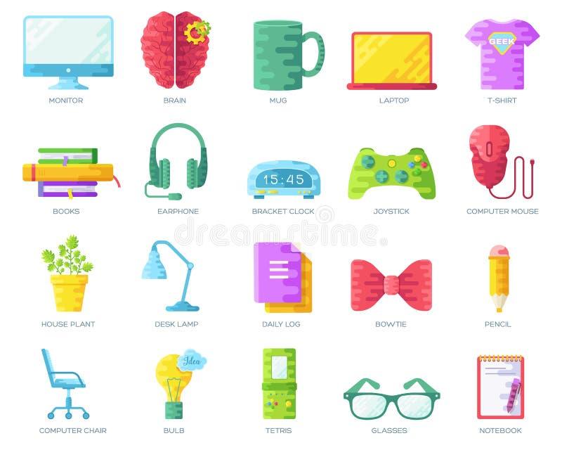 Dirigez-le les illustrations colorées d'icônes de personnes de connaisseurs réglées Promoteur professionnel de bureau plat autour illustration stock