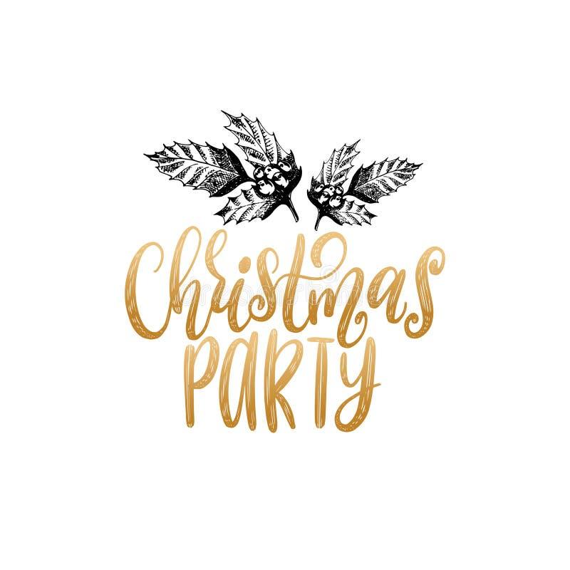 Dirigez le lettrage de fête de Noël avec l'illustration tirée par la main du gui sur le fond blanc Bonnes fêtes carte illustration de vecteur