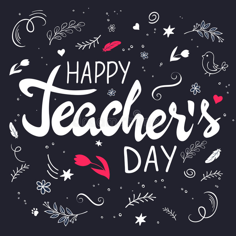 Dirigez le lettrage tiré par la main avec des branches, des remous, des fleurs et la citation - jour heureux de professeurs illustration de vecteur