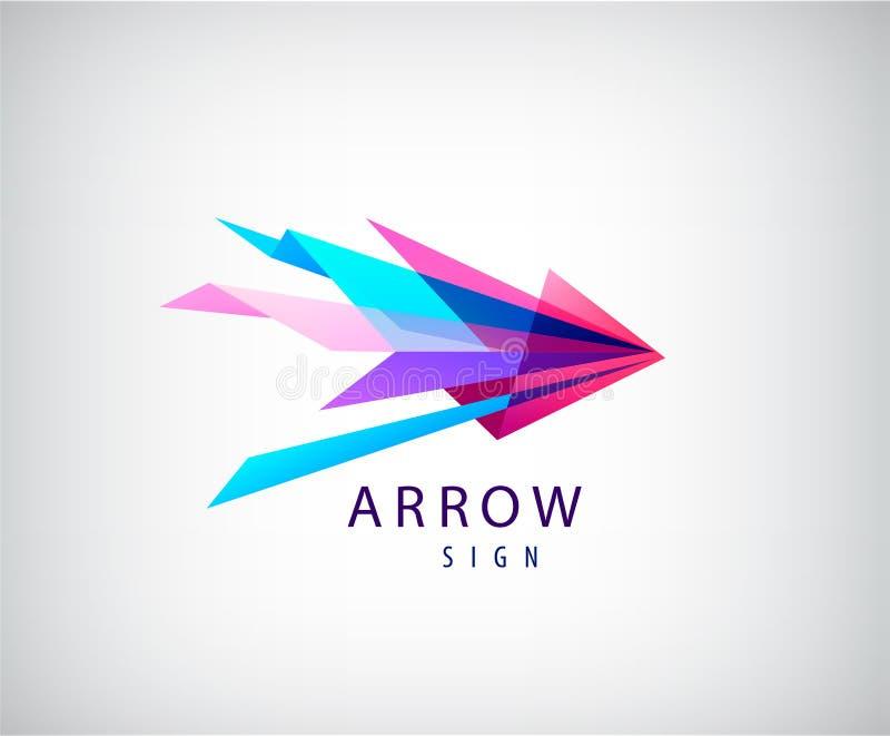 Dirigez le logo abstrait de flèche, icône facettée par origami, Web illustration stock