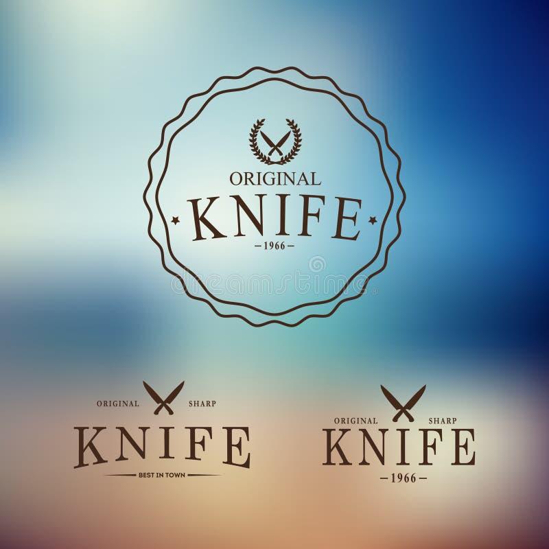 Dirigez le logo avec un ensemble de couteaux sur le résumé illustration libre de droits