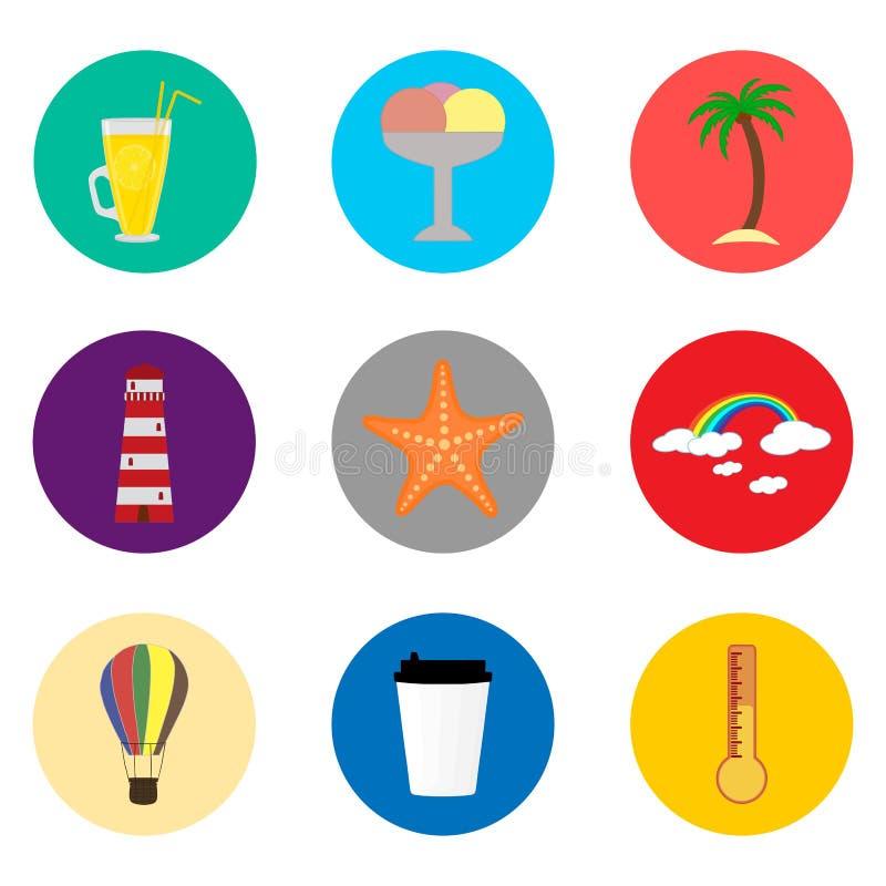 Dirigez le logo d'illustration d'icône pour des symboles réglés sur les Bu colorés par appartement illustration de vecteur
