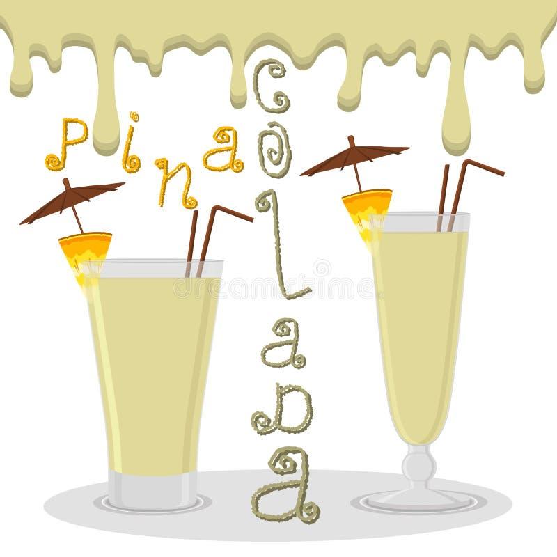 Dirigez le logo d'illustration pour le colada de pina de cocktails d'alcool illustration libre de droits