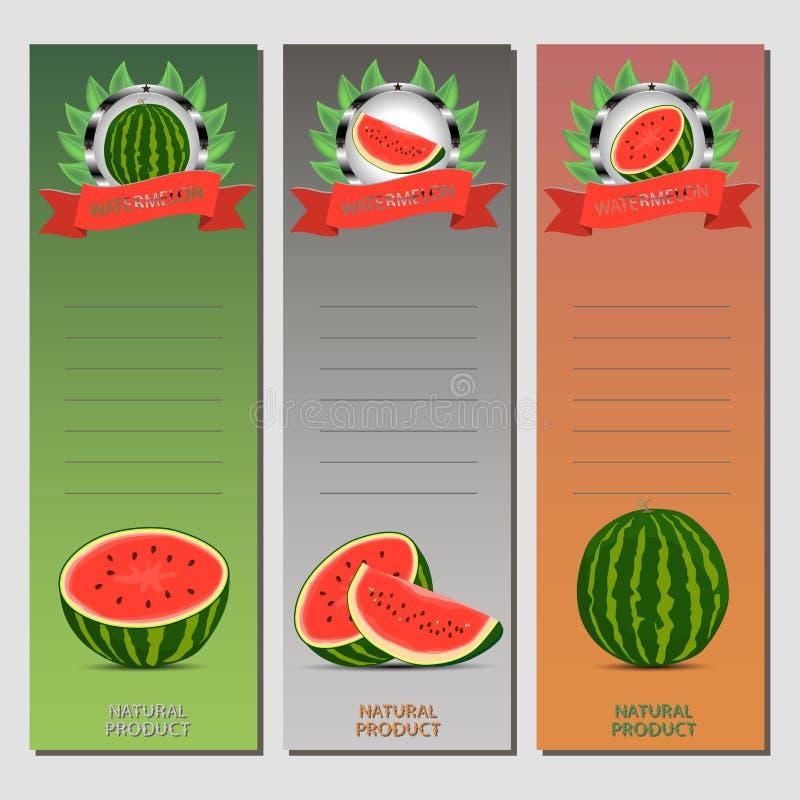 Dirigez le logo d'illustration pour la pastèque rouge mûre entière de fruit, tige verte, la moitié de coupe, baie coupée en tranc illustration stock
