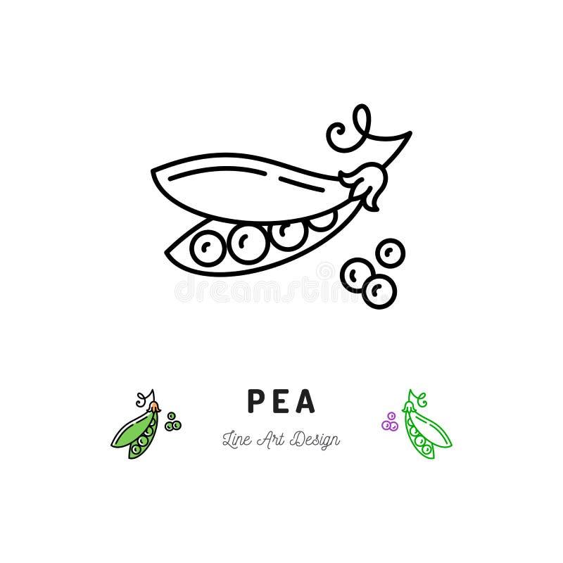 Dirigez le logo de légumes d'icône de pois, pois dans une cosse illustration stock