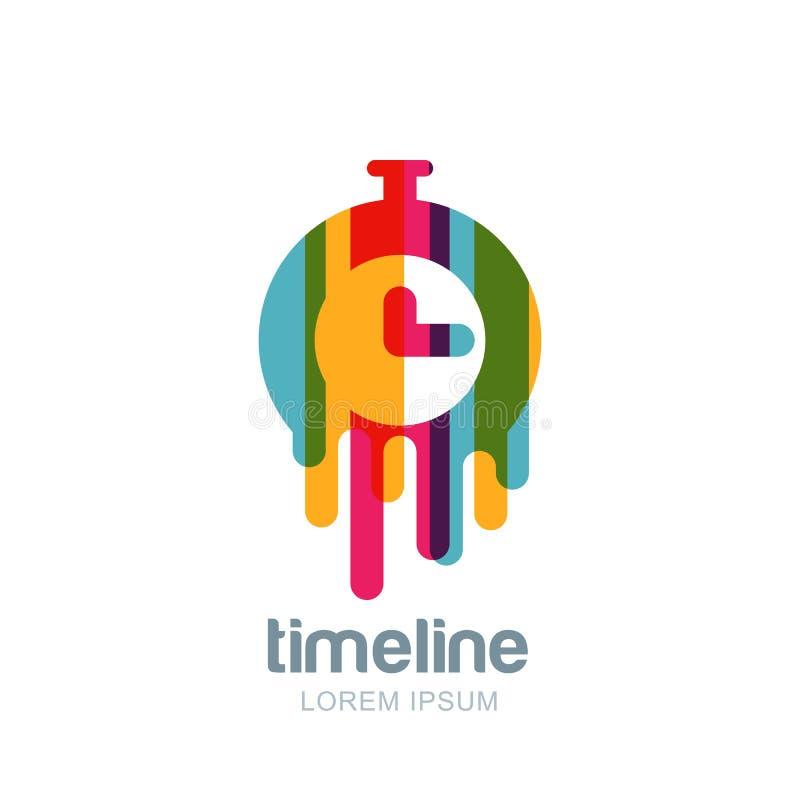 Dirigez le logo de réveil, icône, signe, conception d'emblème Gestion du temps et concept de planification Illustration futée de  illustration stock