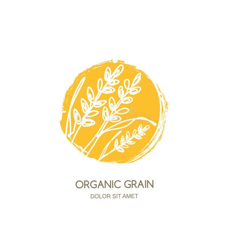 Dirigez le logo, label avec du riz tiré par la main linéaire, oreilles de blé, grains de seigle Concept pour les produits céréali illustration libre de droits