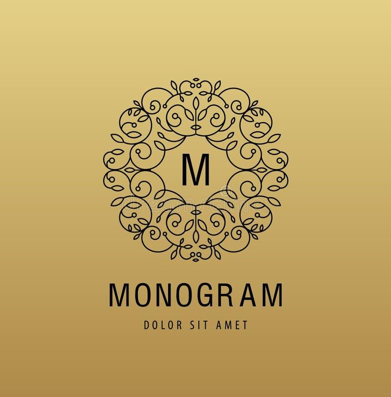 Dirigez le logo linéaire de luxe de monogramme, icône de société Cadre décoratif pour le menu de restaurant, hôtel, bijoux illustration libre de droits