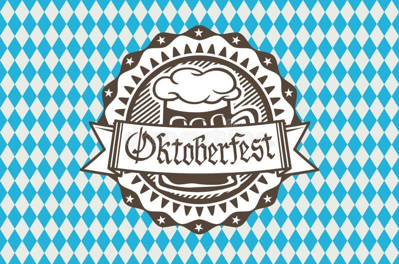 Dirigez le logo pour Oktoberfest dans le bar ou la barre pendant le fest, tasse de bière avec rempli de mousse au bord illustration libre de droits