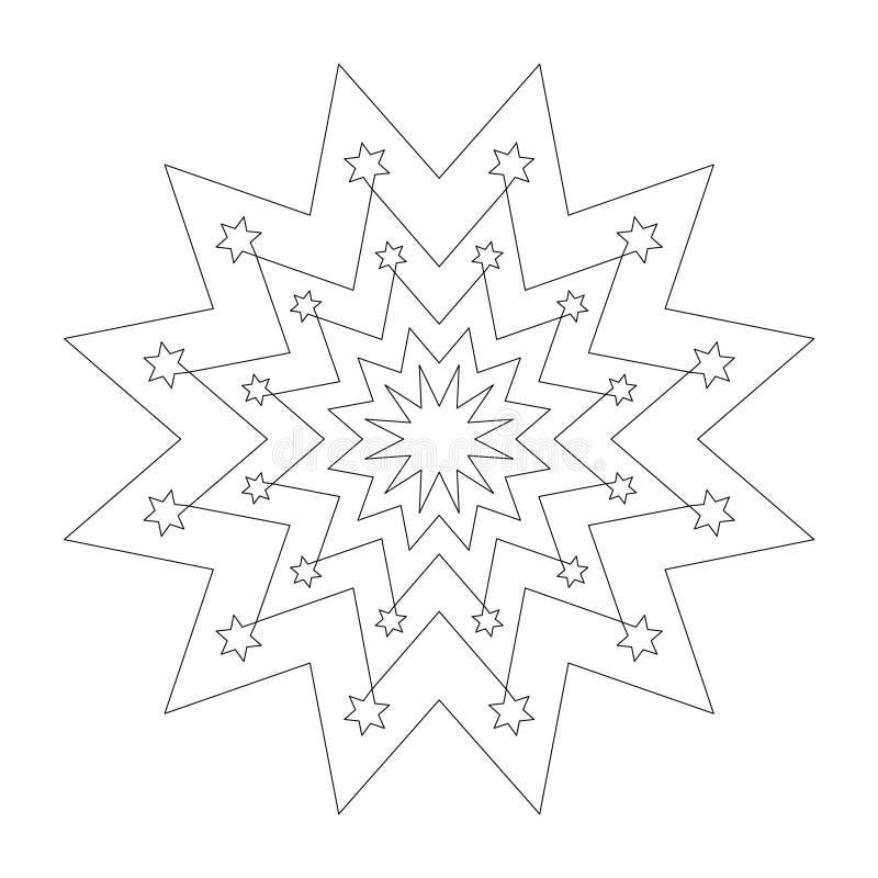 Dirigez le mandala simple rond noir et blanc de Noël avec des étoiles - page adulte de livre de coloriage illustration de vecteur