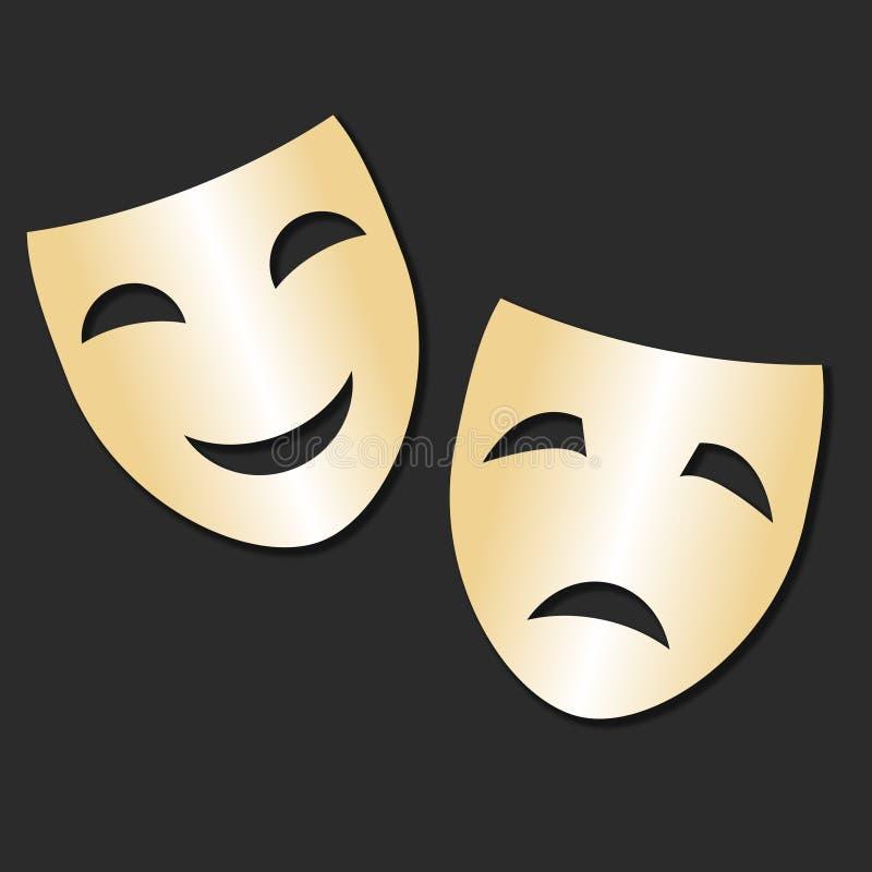 Dirigez le masque gai et triste d'isolement d'or de théâtre Jour de théâtre illustration de vecteur