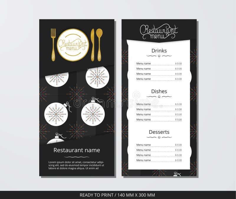 Dirigez le menu de restaurant de calibre avec la boule de couverts d'or et de Noël de modèle et le flocon de neige ornemental illustration stock