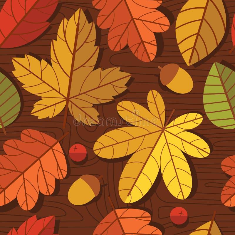 Dirigez le modèle coloré sans couture des feuilles d'automne au-dessus de fond en bois de texture illustration libre de droits